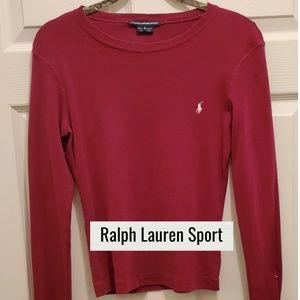 Ralph Lauren Sport Maroon Long Sleeve Swea…